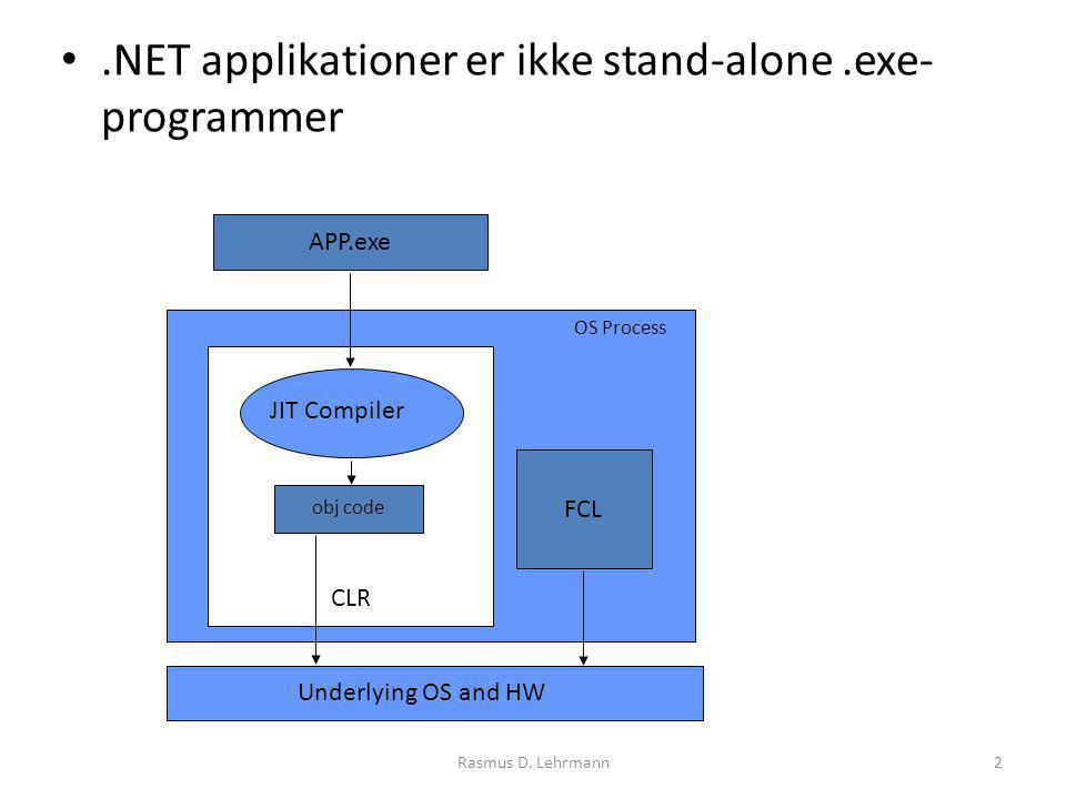 2.NET applikationer er ikke stand-alone.exe- programmer APP.exe CLR JIT Compiler obj code OS Process Underlying OS and HW FCL