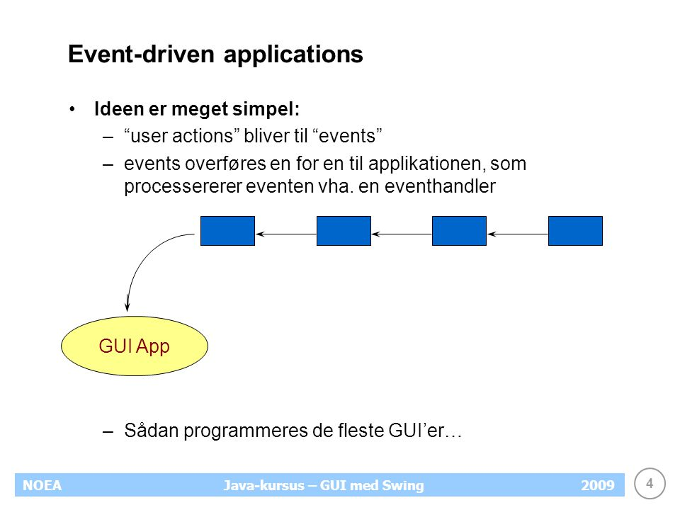 4 NOEA2009Java-kursus – GUI med Swing Event-driven applications Ideen er meget simpel: – user actions bliver til events –events overføres en for en til applikationen, som processererer eventen vha.