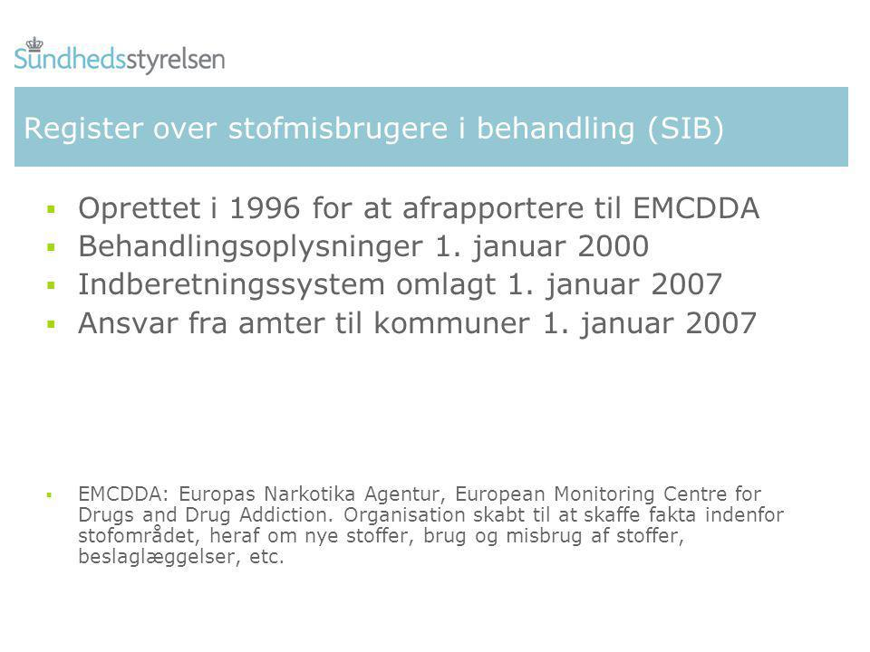 Register over stofmisbrugere i behandling (SIB)  Oprettet i 1996 for at afrapportere til EMCDDA  Behandlingsoplysninger 1.