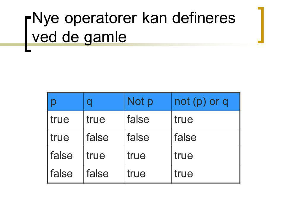 Nye operatorer kan defineres ved de gamle pqNot pnot (p) or q true falsetrue false true false true