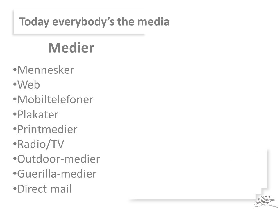 Today everybody's the media Mennesker Web Mobiltelefoner Plakater Printmedier Radio/TV Outdoor-medier Guerilla-medier Direct mail Medier