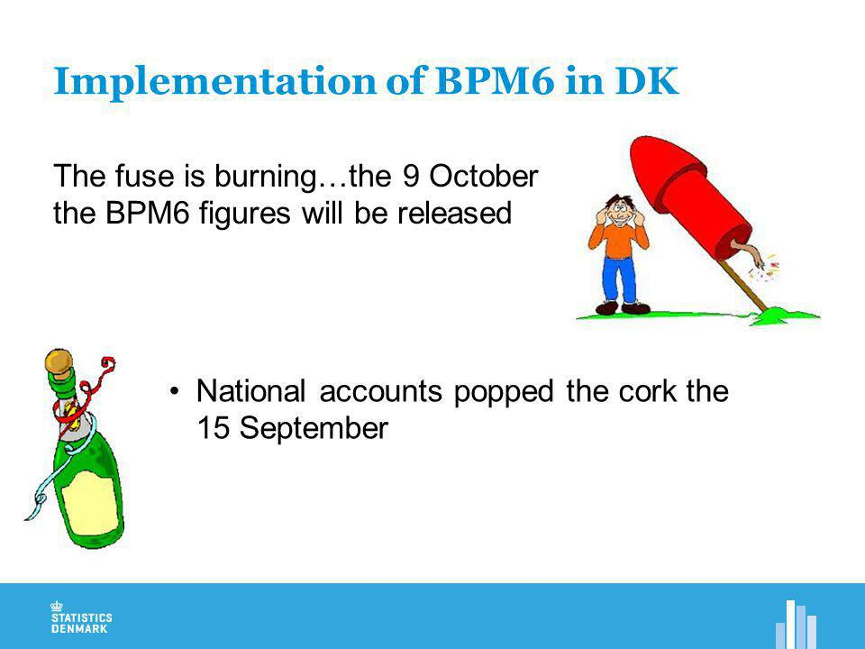 Implementation of BPM6 in DK The fuse is burning…the 9 October the BPM6 figures will be released National accounts popped the cork the 15 September