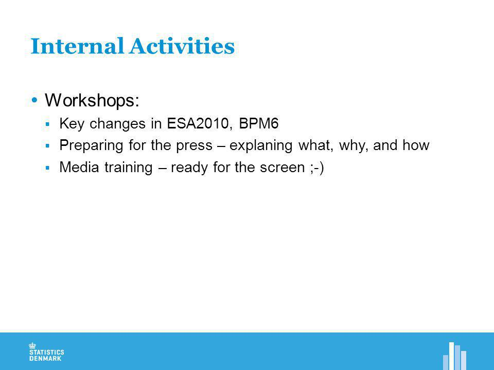 Internal Activities  Workshops:  Key changes in ESA2010, BPM6  Preparing for the press – explaning what, why, and how  Media training – ready for the screen ;-)