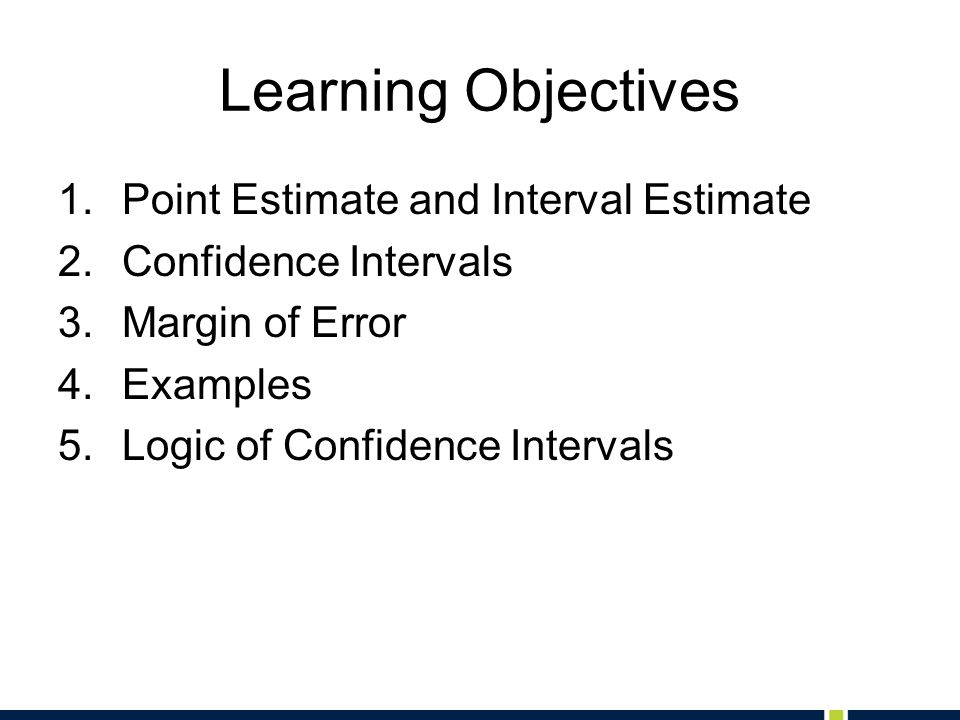 Learning Objectives 1.Point Estimate and Interval Estimate 2.Confidence Intervals 3.Margin of Error 4.Examples 5.Logic of Confidence Intervals